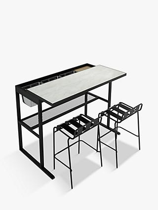John Lewis & Partners Marble-Effect Garden Bar Table & 2 Stools, Black