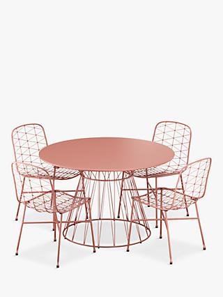 John Lewis & Partners Ray 4-Seat Garden Table & Chairs Set, Terracotta