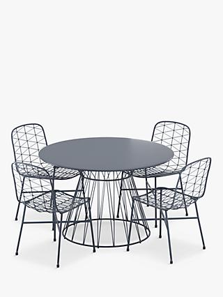 John Lewis & Partners Ray 4-Seat Garden Table & Chairs Set, Charcoal Grey
