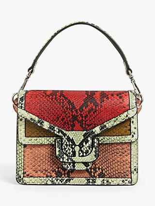 Coccinelle Ambrine Python Leather Shoulder Bag, Red