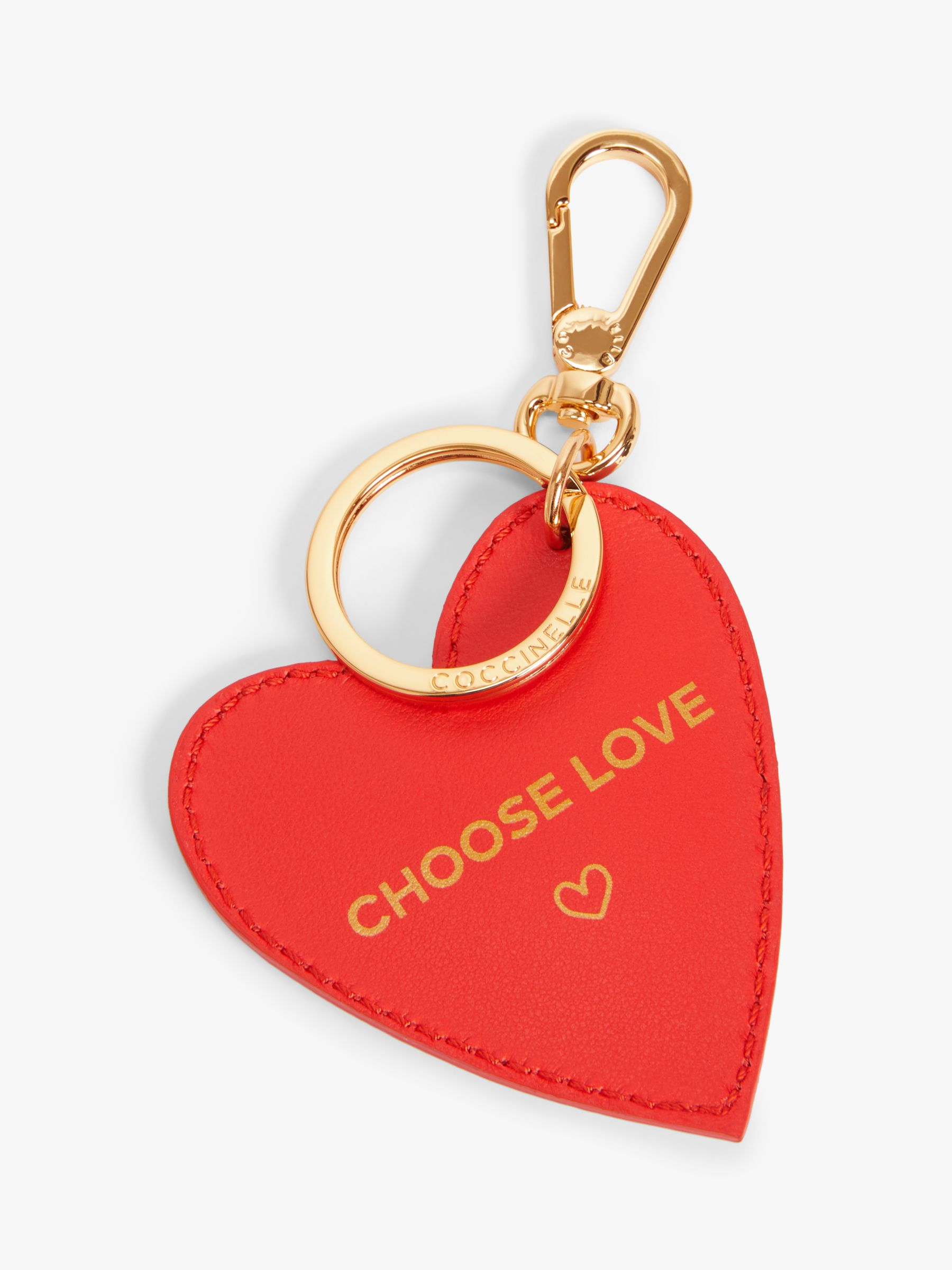 Coccinelle Coccinelle Charm Road Leather Choose Love Heart Keyring, Red