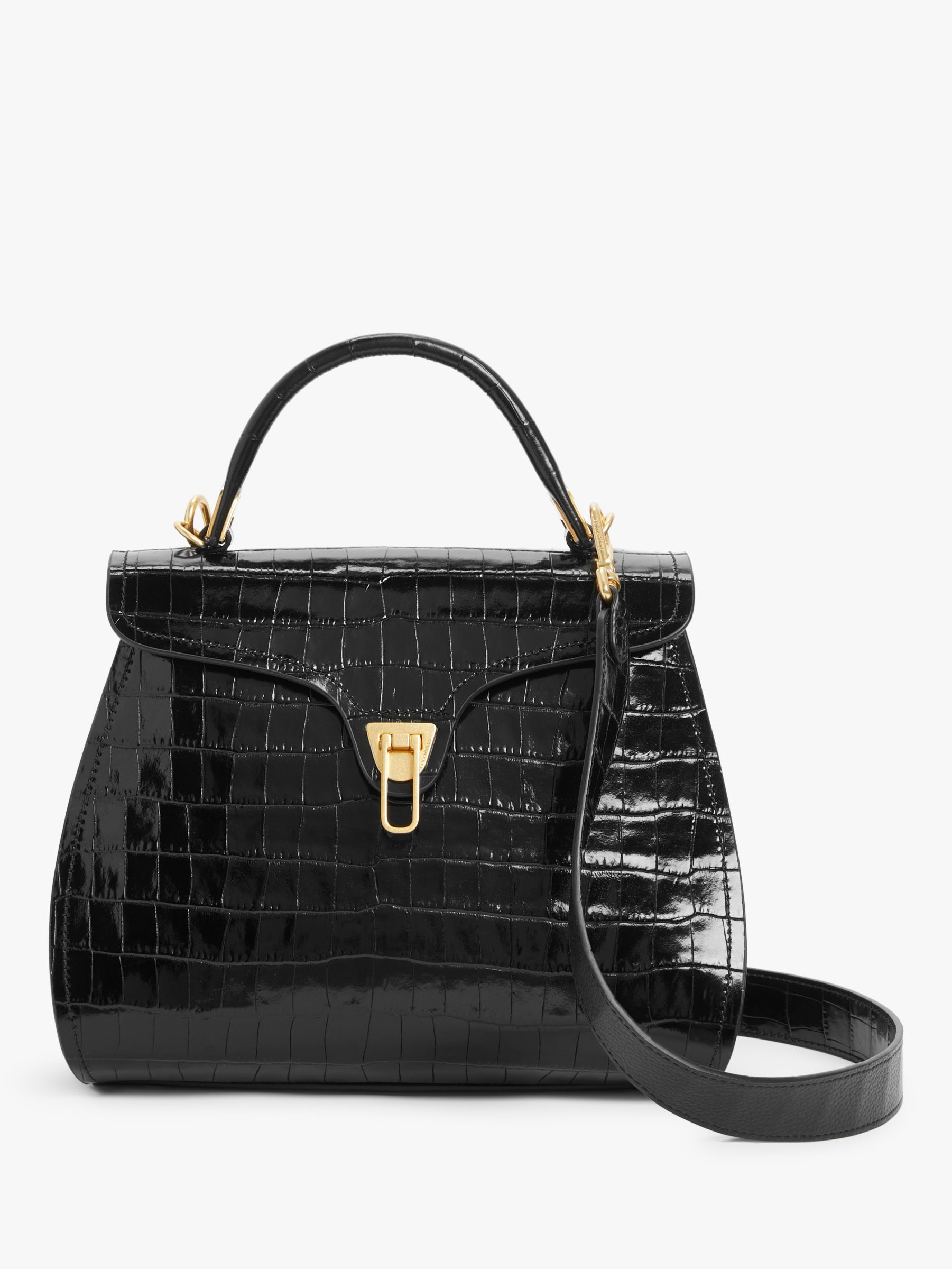 Coccinelle Coccinelle Marvin Croc Effect Leather Shoulder Bag, Black