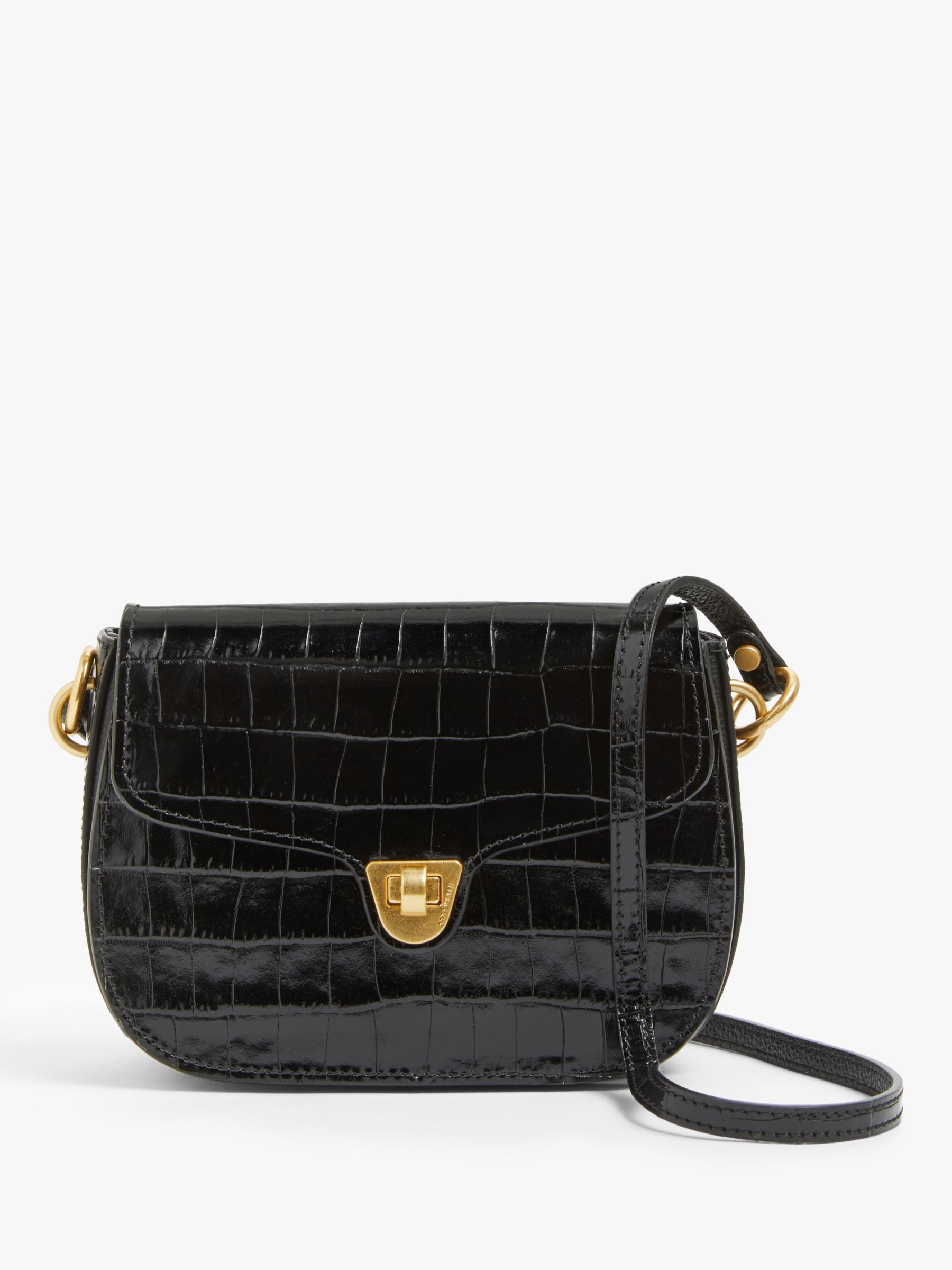Coccinelle Coccinelle Mini Florence Croc Leather Bag, Black