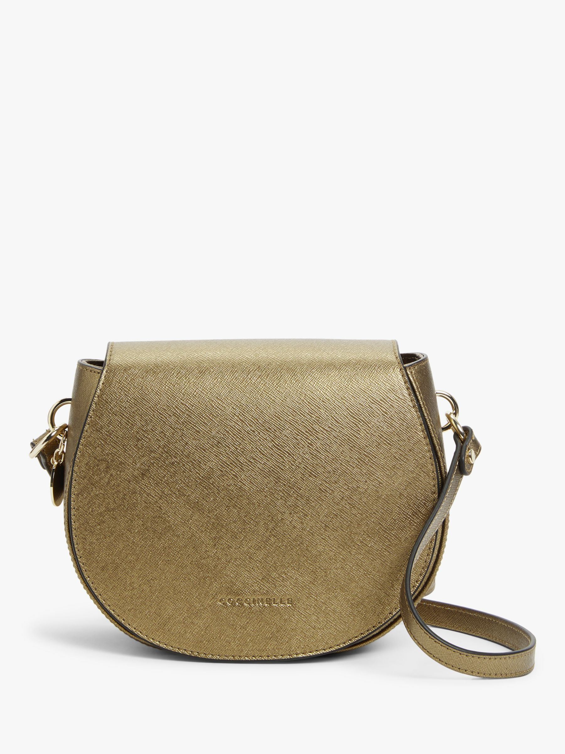 Coccinelle Coccinelle Alpha Saffiano Leather Round Cross Body Bag, Brass