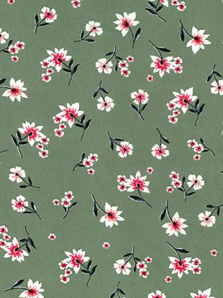 Oddies Textiles Small Lily Print Fabric, Green/Multi