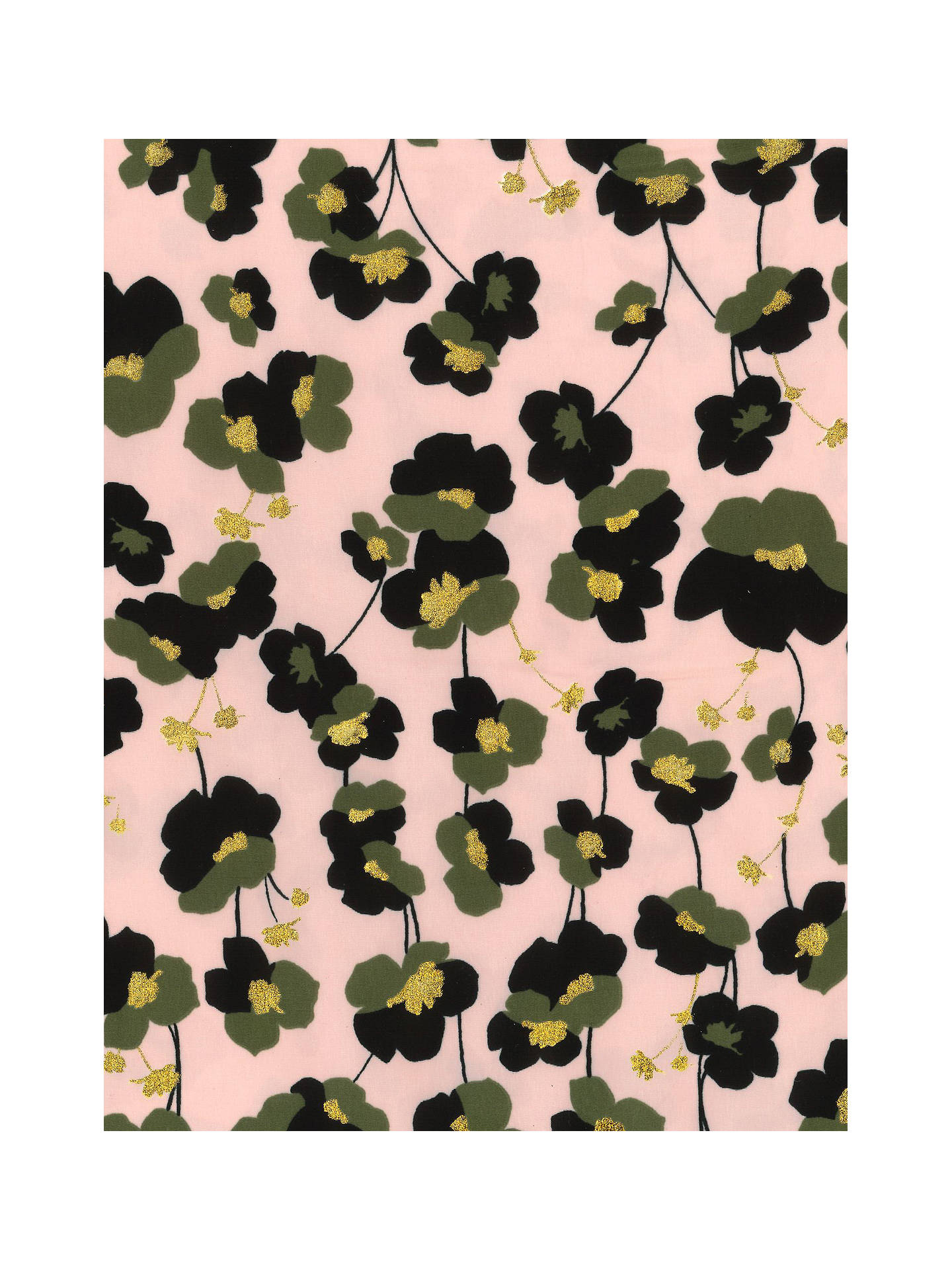 Buy Oddies Textiles Khaki & Gold Floral Fabric, Pink Rose Online at johnlewis.com