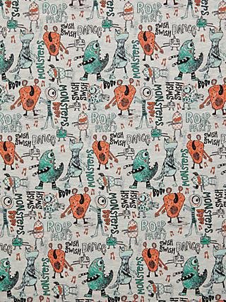 Oddies Textiles Monster Party Print Fabric, Grey Marl