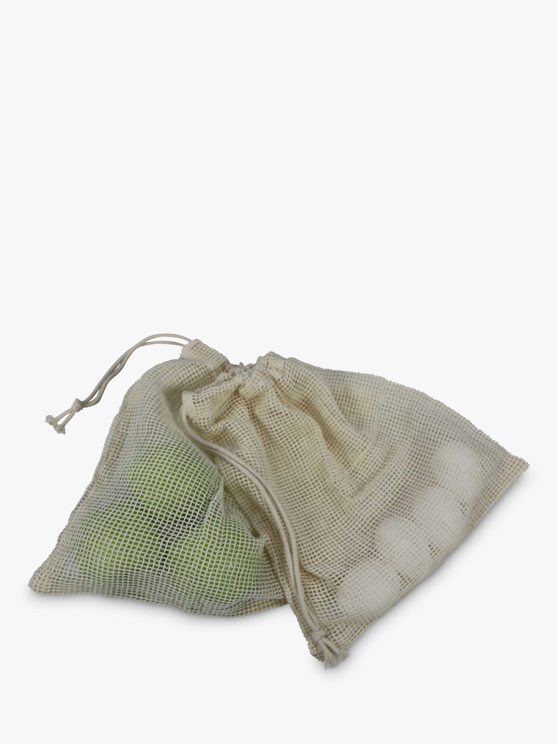 Dexam Dexam Organic Cotton Reusable Mesh Fruit & Vegetable Bags, Pack of 3, Natural