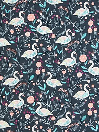 Dashwood Studio Pretty Swan Print Fabric, Black
