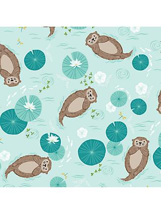 Dashwood Studio Otters in the Pond Print Fabric, White/Multi