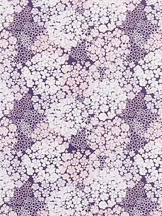 John Lewis & Partners Flower Overlay Print Fabric, Purple