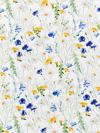 John Lewis & Partners Daisy and Dandelion Print Fabric, White/Multi