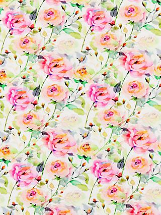 John Lewis & Partners Watercolour Roses Print Fabric, Pink/Multi