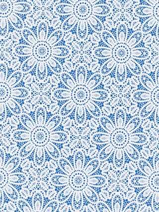 John Lewis & Partners Lace Flower Print Fabric, Blue