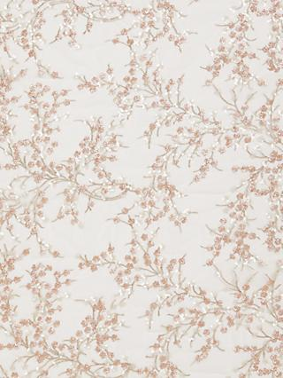 Carrington Fabrics Sequin and Embroidered Floral Fabric, Rose Gold