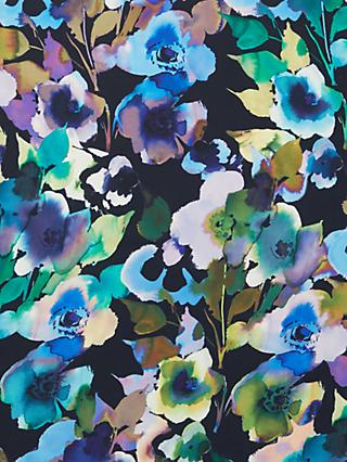 John Kaldor Paris Watercolour Flower Print Fabric, Green/Navy