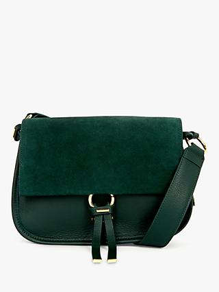 Ted Baker Harrlee Suede Leather Cross Body Bag, Dark Green