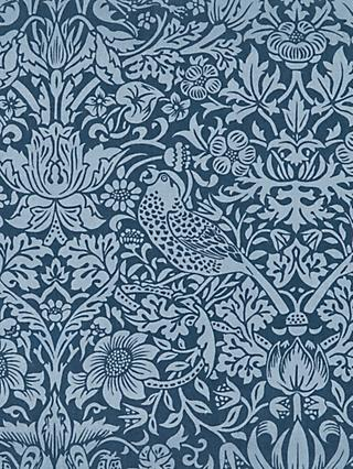 Morris & Co.Thief Bird Floral Print Fabric, Navy Blue