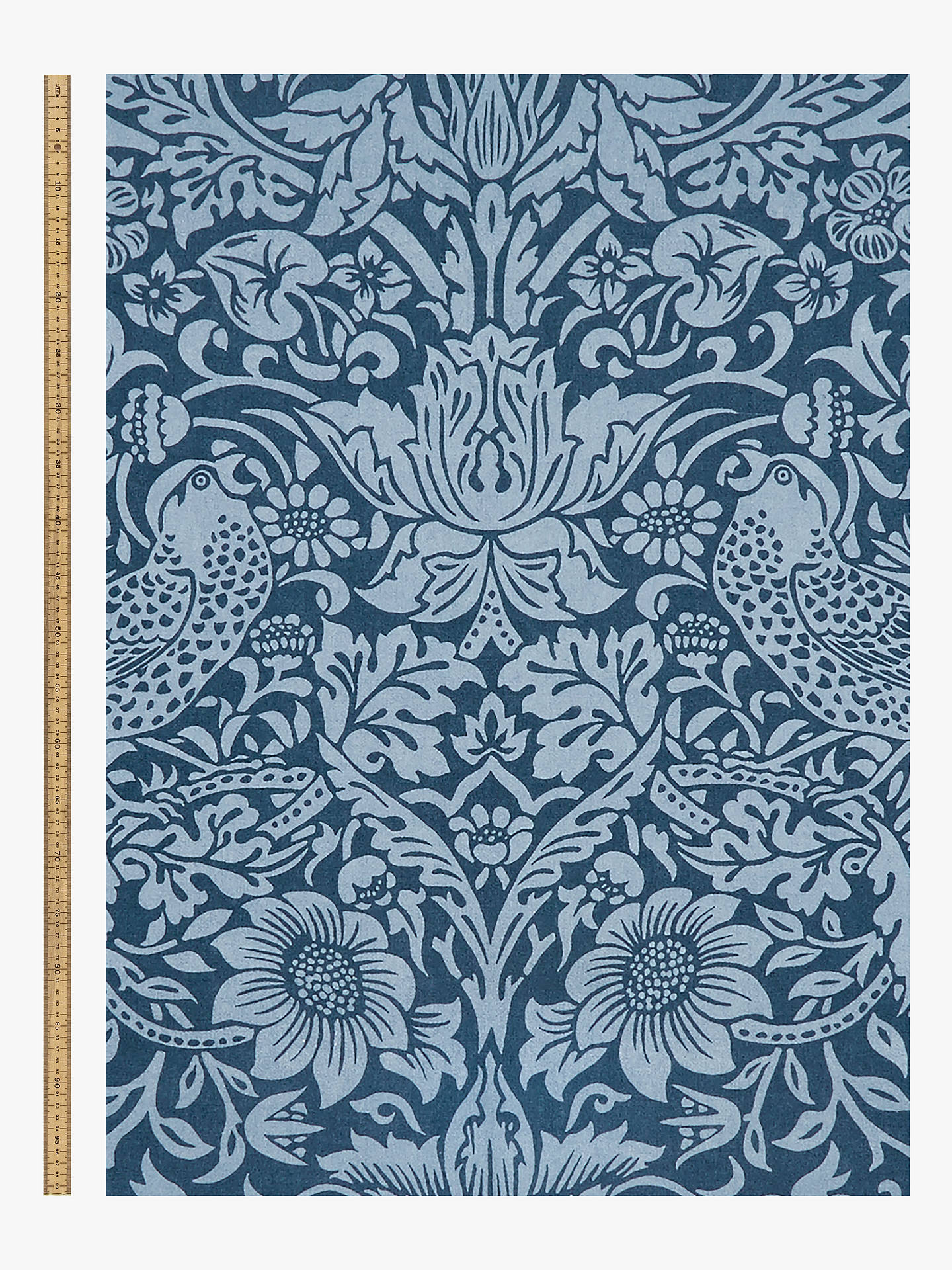 Buy Morris & Co.Thief Bird Floral Print Fabric, Navy Blue Online at johnlewis.com
