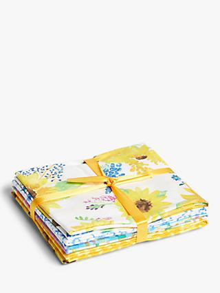 Fabric Editions Sunflower Print Fat Quarter Fabrics, Pack of 5, Yellow/Multi