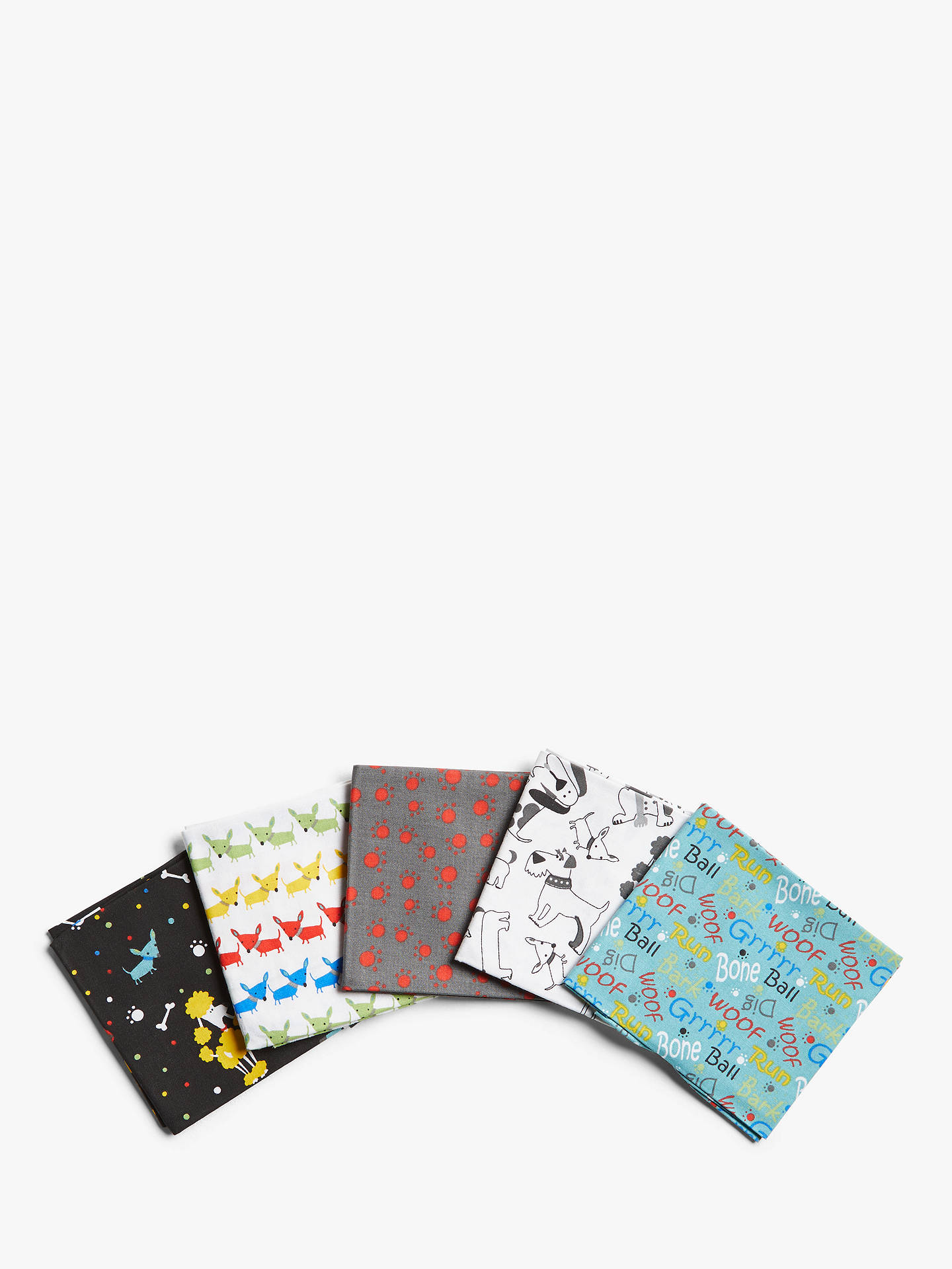Buy Fabric Editions Dogs Print Fat Quarter Fabrics, Pack of 5, Multi Online at johnlewis.com