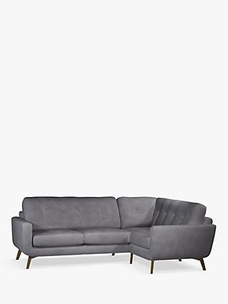 John Lewis & Partners Barbican 5+ Seater RHF Corner End Leather Sofa, Dark Leg