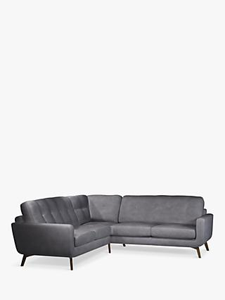 John Lewis & Partners Barbican 5+ Seater Leather Corner Sofa, Dark Leg
