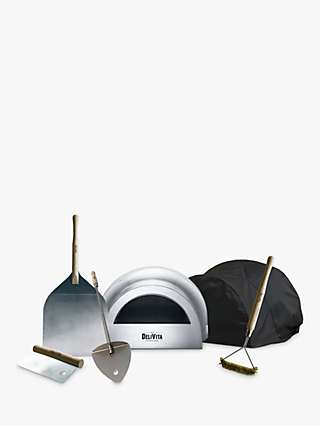 DeliVita Pizza Lover's Collection Wood-Fired Outdoor Oven, Cover, Utensils & Starter Set, Hale Grey