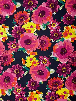 Viscount Textiles Bright Flower Heads Print Fabric, Black/Pink