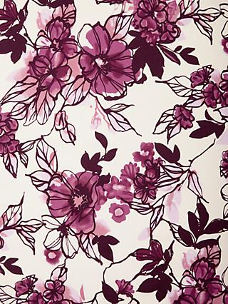 Viscount Textiles Flowers Print Fabric, Burgundy/White
