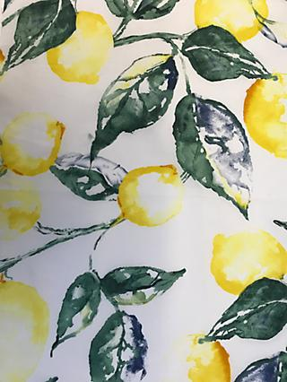 Viscount Textiles Watercolour Lemons Print Fabric, White/Multi