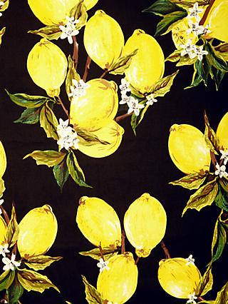 Viscount Textiles Lemon Print Fabric, Black