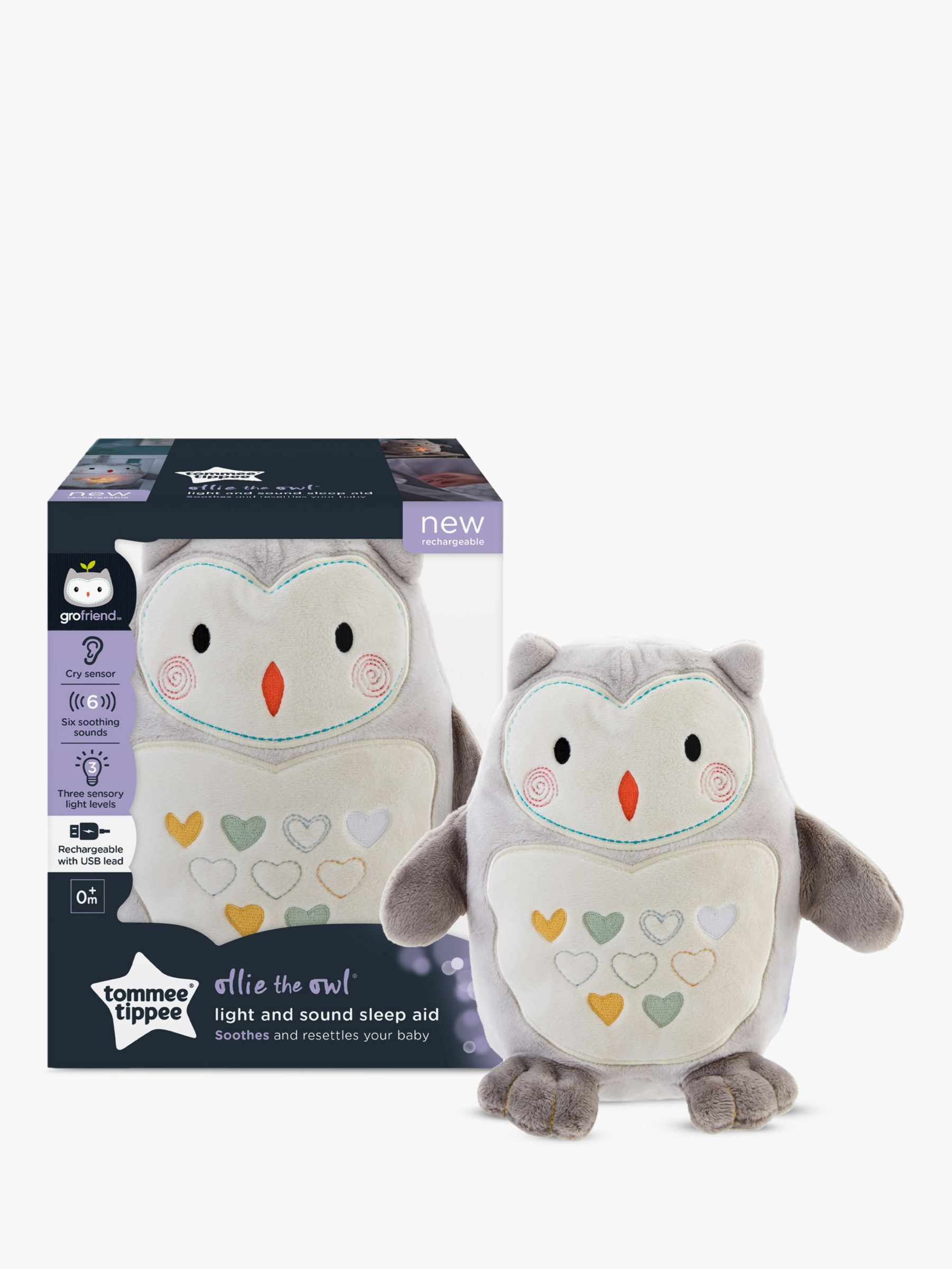 Tommee Tippee Tommee Tippee Ollie the Owl Rechargeable Light and Sound Sleep Aid