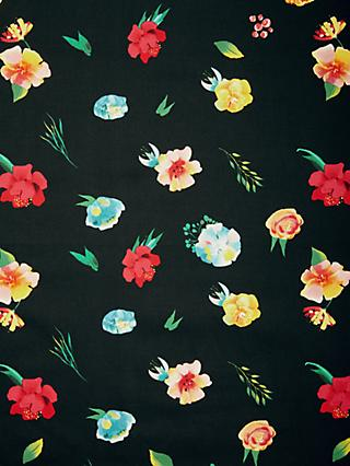 Marvic Fabrics Bright Flower Heads Print Fabric, Black/Multi