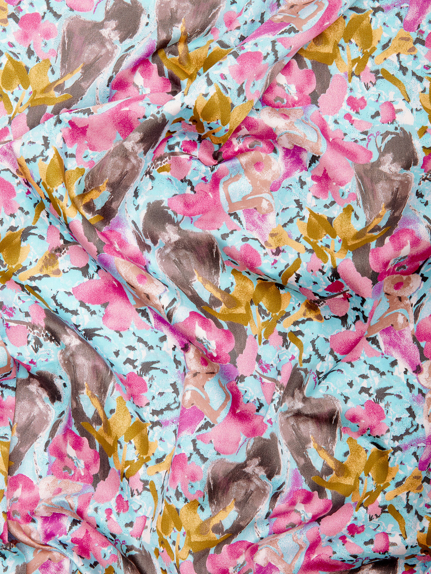 Buy Marvic Fabrics Smudgy Painted Floral Print Fabric, Blue/Multi Online at johnlewis.com