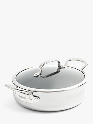 GreenPan Barcelona Evershine Stainless Steel Ceramic Non-Stick Shallow Casserole & Lid, 26cm