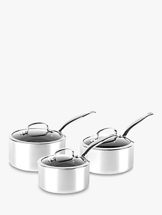 GreenPan Barcelona Evershine Stainless Steel Ceramic Non-Stick Saucepans, Set of 3