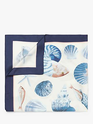 Nice Things Fishes and Shells Silk Shawl, Ecru/Blue
