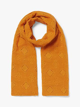 Nice Things Cutwork Cotton Scarf, Intense Orange