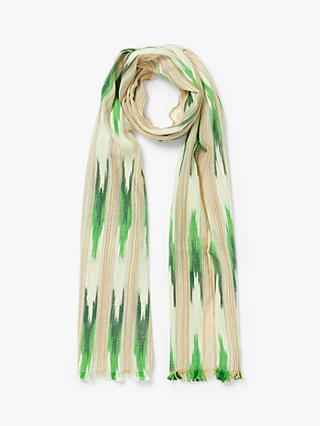Nice Things Boho Stripe Cotton Scarf, Ochre/Green