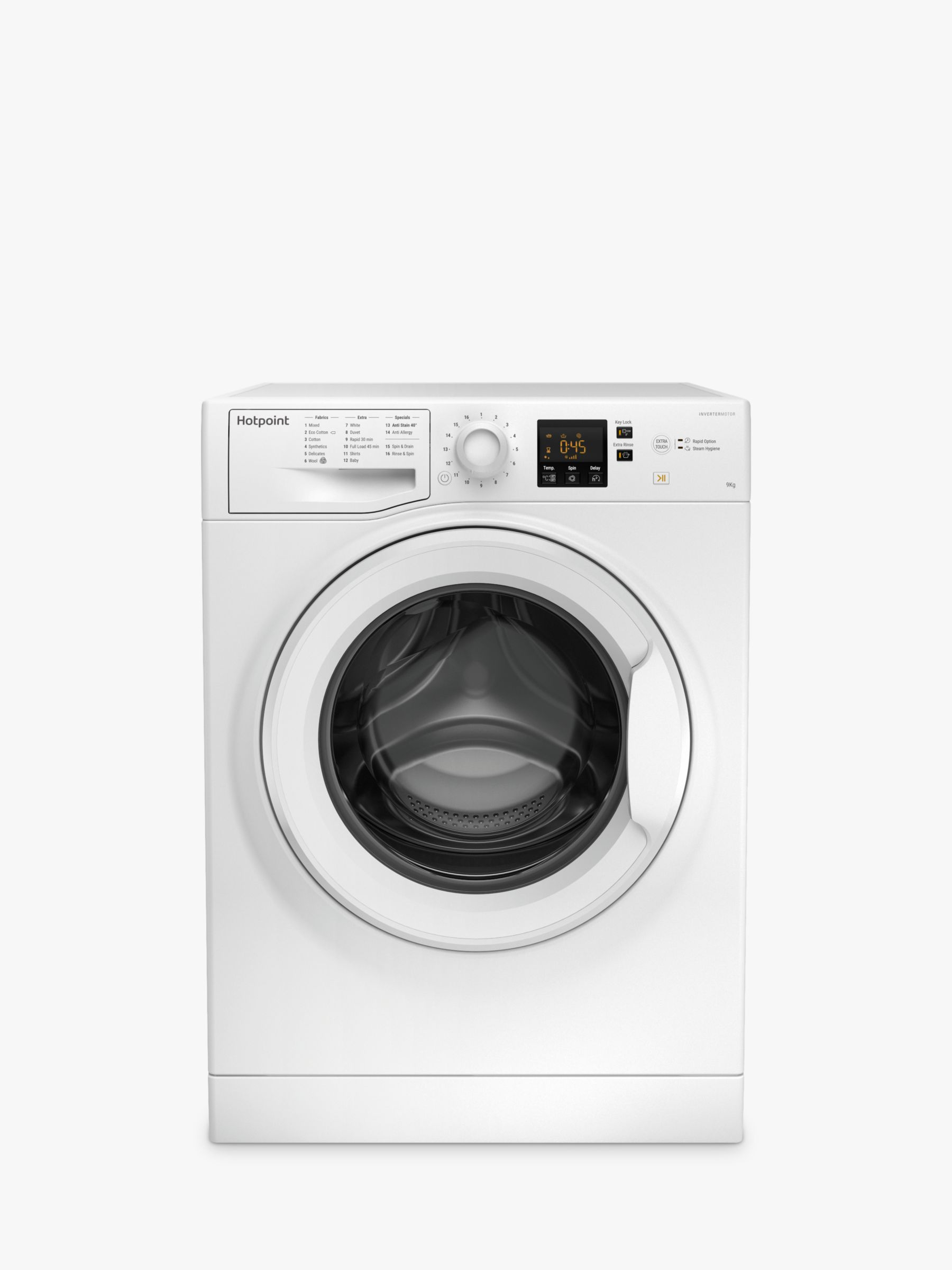 Hotpoint Hotpoint NSWJ 942U Freestanding Washing Machine, 9kg Load, A++ Energy Rating, 1400rpm Spin, White
