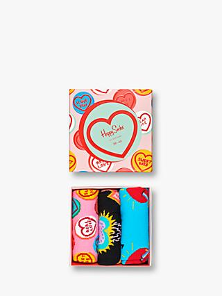 Happy Socks Heart Socks Gift Box, One Size, Pack of 3, Pink/Multi
