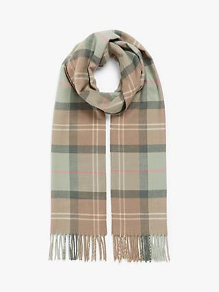 Barbour Tartan Gloves and Scarf Set, Taupe/Pink