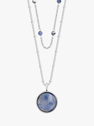Joma Jewellery Lace Agate Friendship Layered Necklace, Silver/Blue