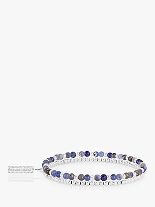Joma Jewellery Lace Agate Double Beaded Bracelet, Silver/Blue