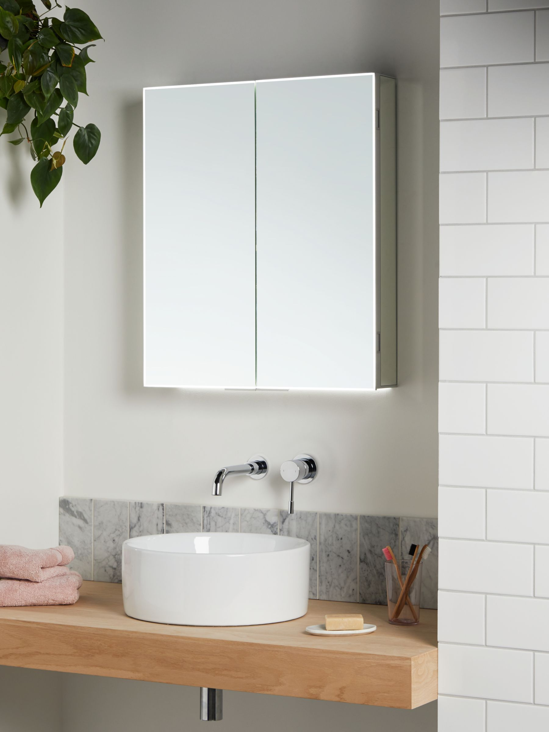 John Lewis Partners Aspect Double Mirrored And Illuminated Bathroom Cabinet