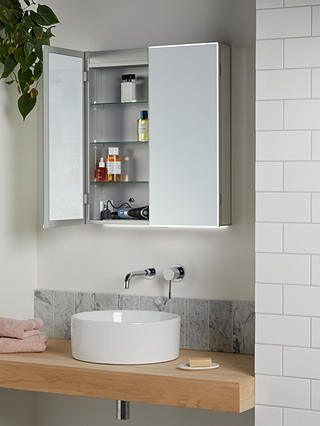 John Lewis Partners Aspect Double, Bathroom Mirrored Cabinets