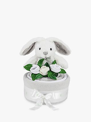 Babyblooms Blanket Cake with Personalised Baby Bunny Soft Toy, Light Grey