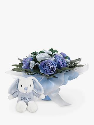 Babyblooms Luxury Baby Clothes Bouquet and Personalised Baby Bunny Soft Toy, Light Blue