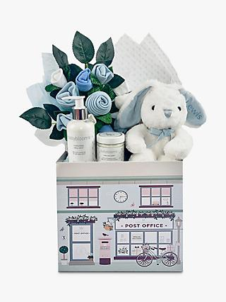 Babyblooms New Baby Welcome Hamper with Personalised Bunny Soft Toy, Light Blue